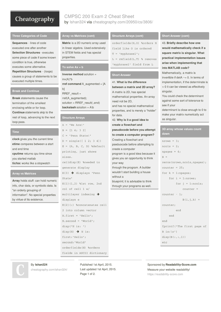 CMPSC 200 Exam 2 Cheat Sheet by Ishan324 - Download free from