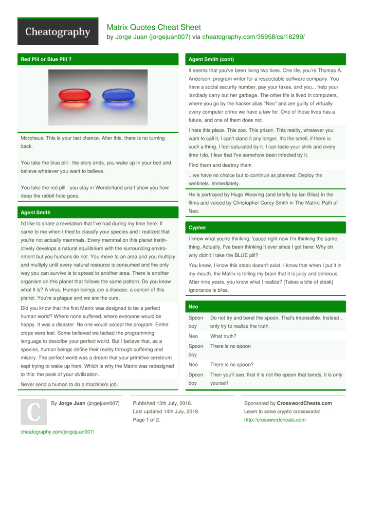 Matrix Quotes Cheat Sheet By Jorgejuan007 Download Free From