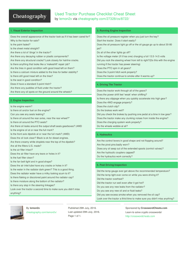 tractor purchase checklist cheat sheet  lemonx    cheatography
