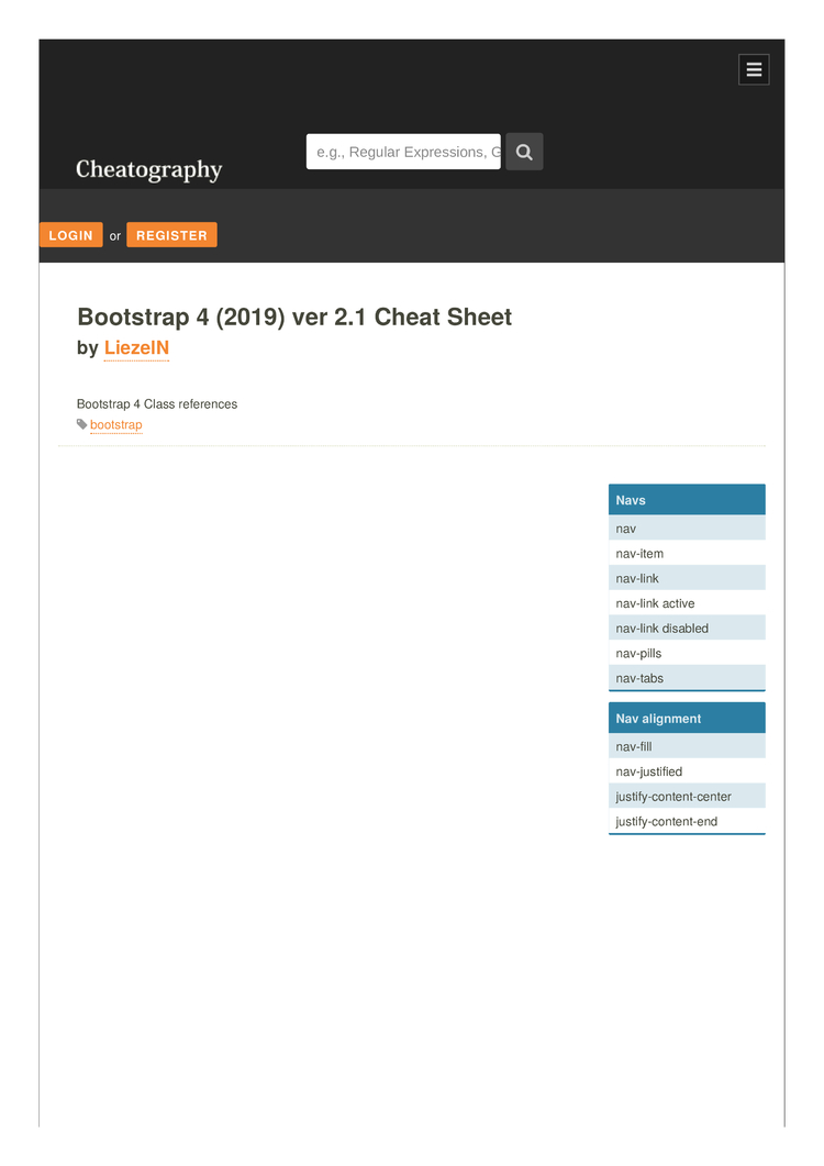 Bootstrap 4 (2019) ver 2 Cheat Sheet by LiezelN - Download