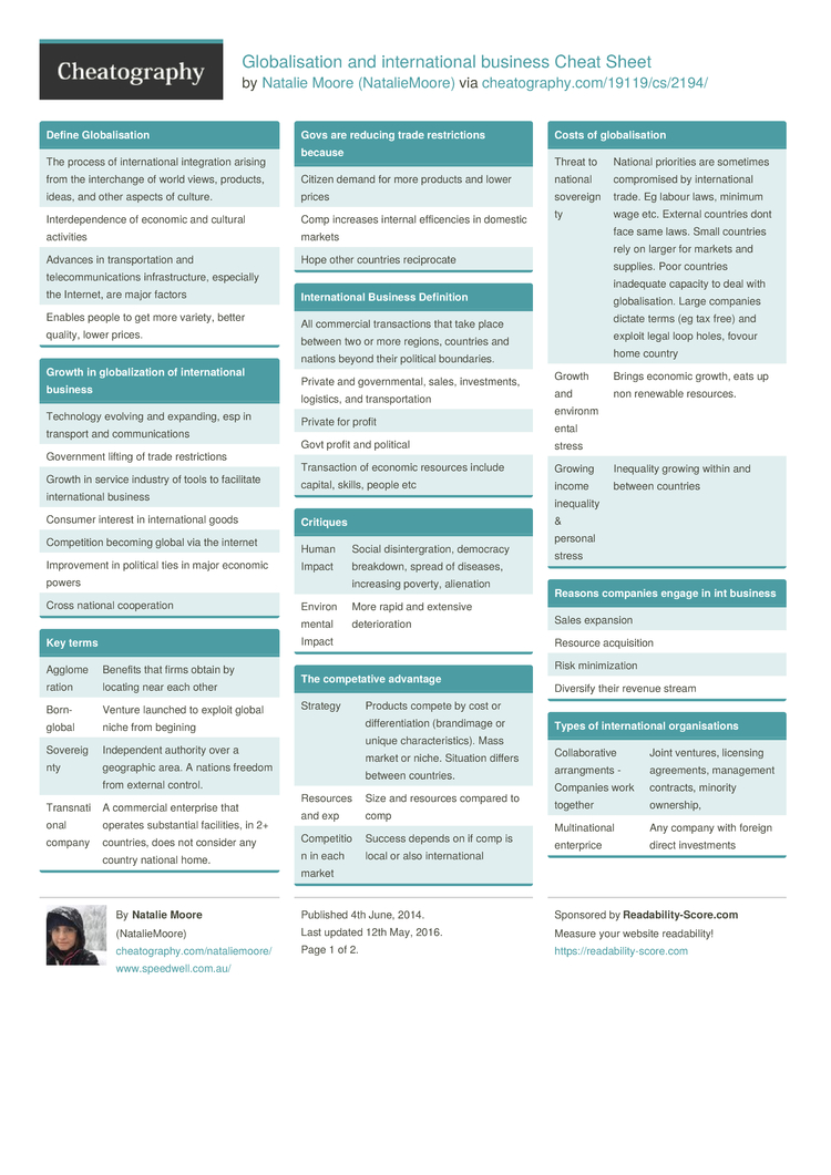 globalisation and international business cheat sheet by 2 pages