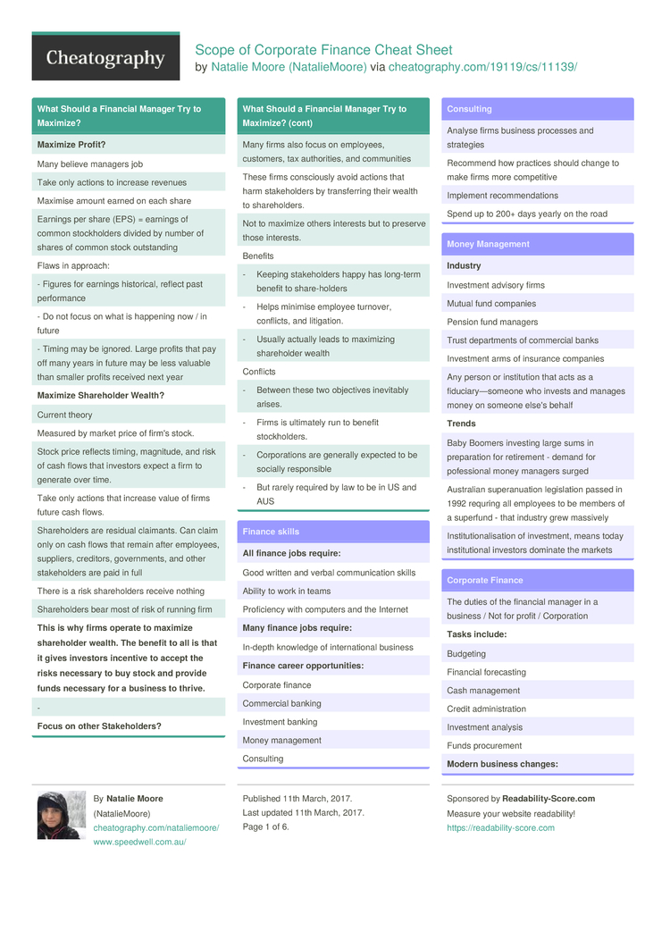 scope of corporate finance cheat sheet by nataliemoore download