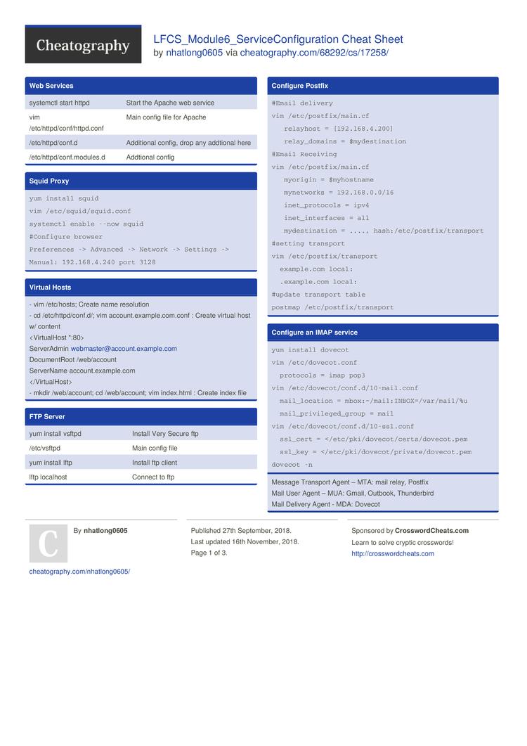 LFCS_Module6_ServiceConfiguration Cheat Sheet by nhatlong0605