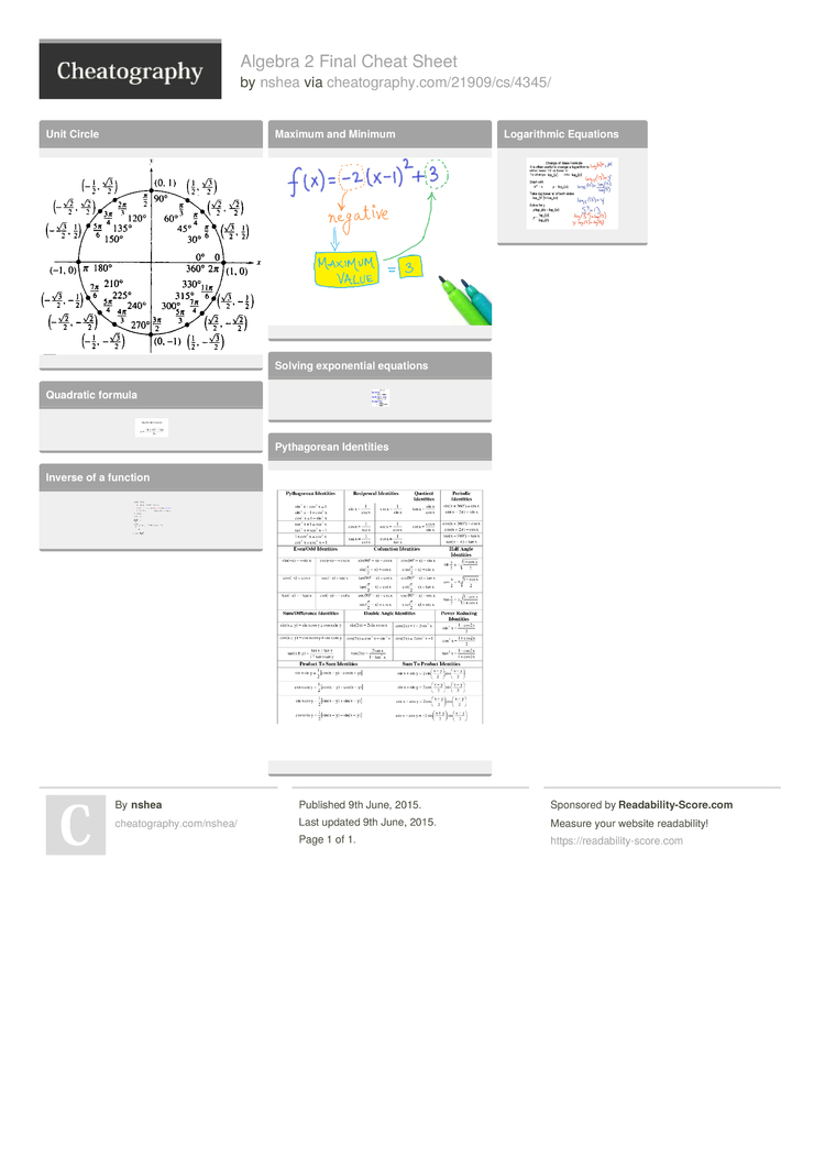 Algebra 2 Final Cheat Sheet by nshea - Download free from