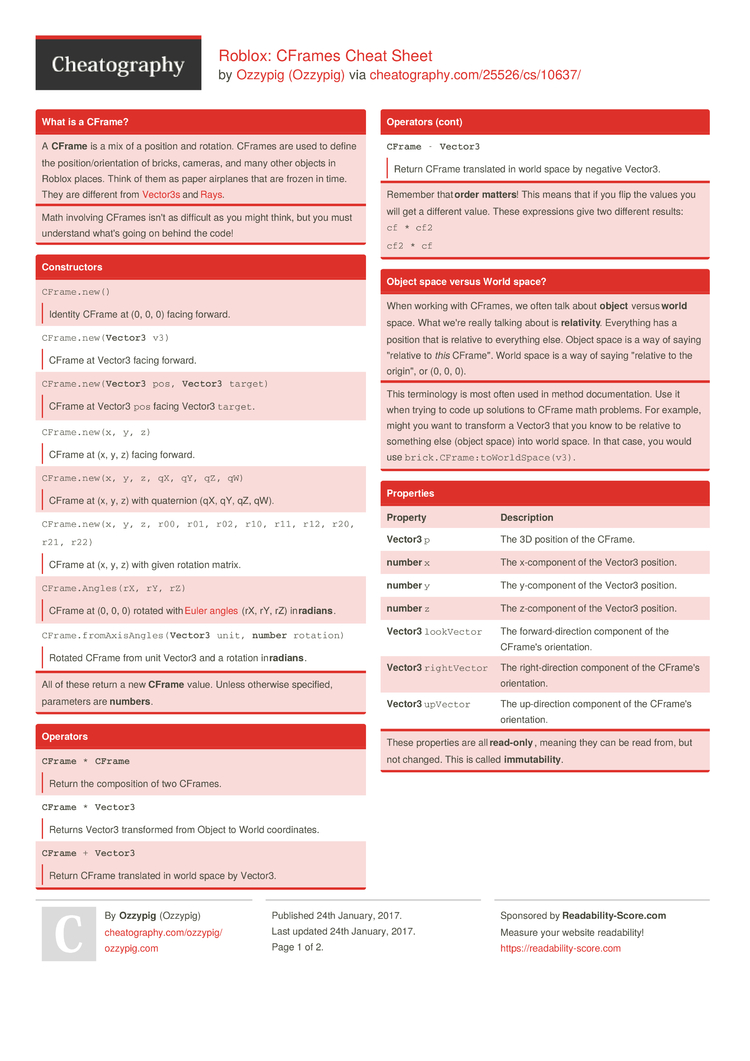 Roblox: CFrames Cheat Sheet by Ozzypig - Download free from