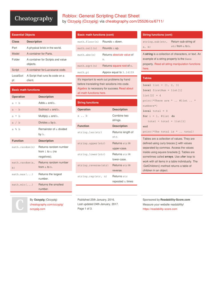 Roblox General Scripting Cheat Sheet By Ozzypig Download Free