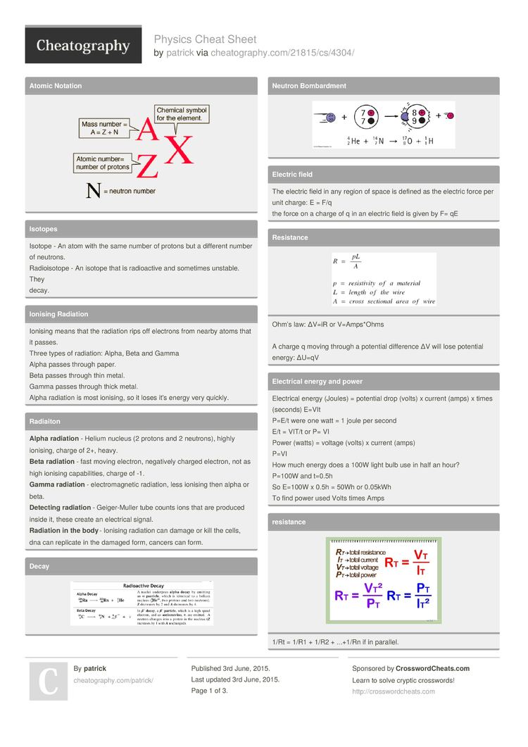 Physics Cheat Sheet by patrick - Download free from Cheatography