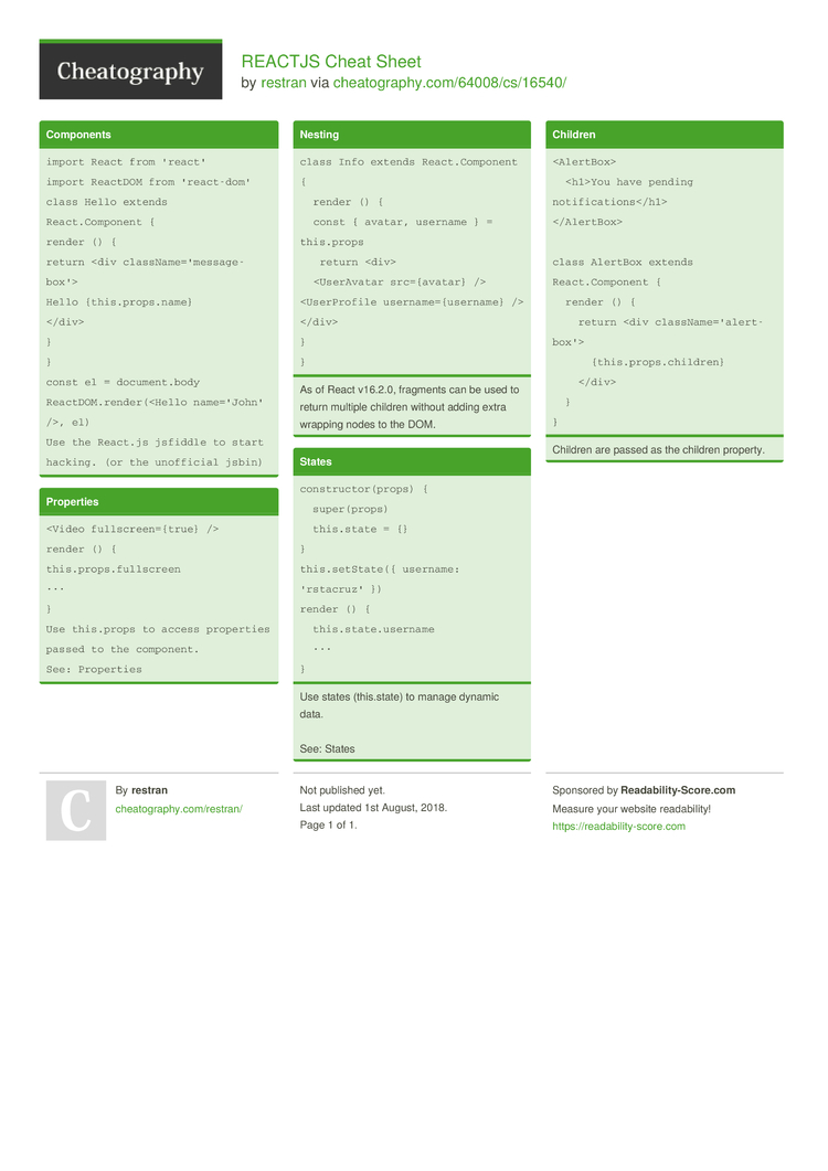 REACTJS Cheat Sheet by restran   Download free from Cheatography ...