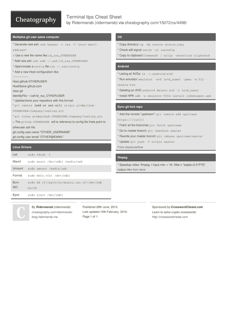 Terminal tips Cheat Sheet by ridermansb - Download free from
