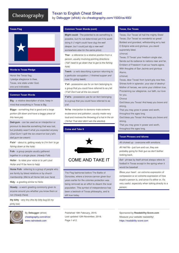 Texan to English Cheat Sheet by sfrick - Download free from