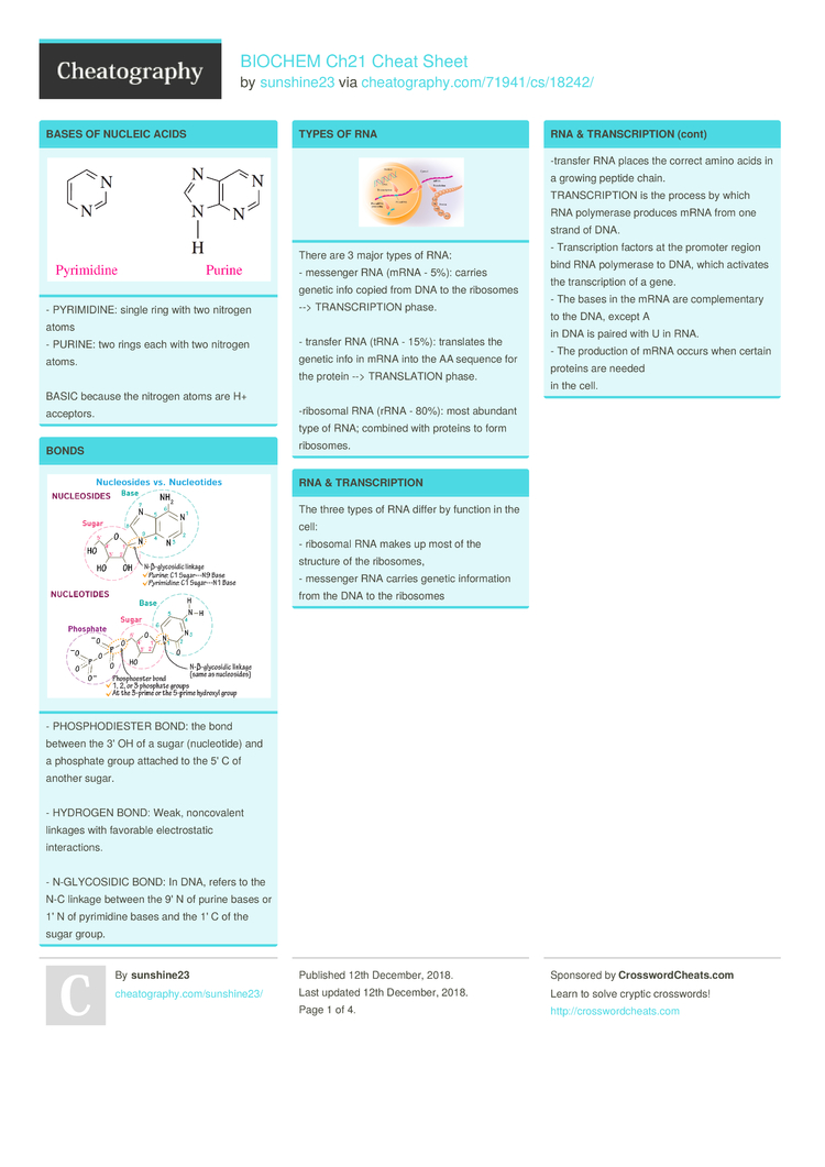 BIOCHEM Ch21 Cheat Sheet by sunshine23 - Download free from