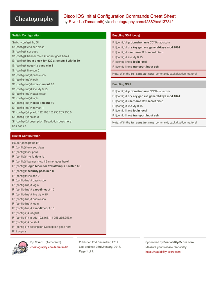 Cisco IOS Initial Configuration Commands Cheat Sheet by Tamaranth