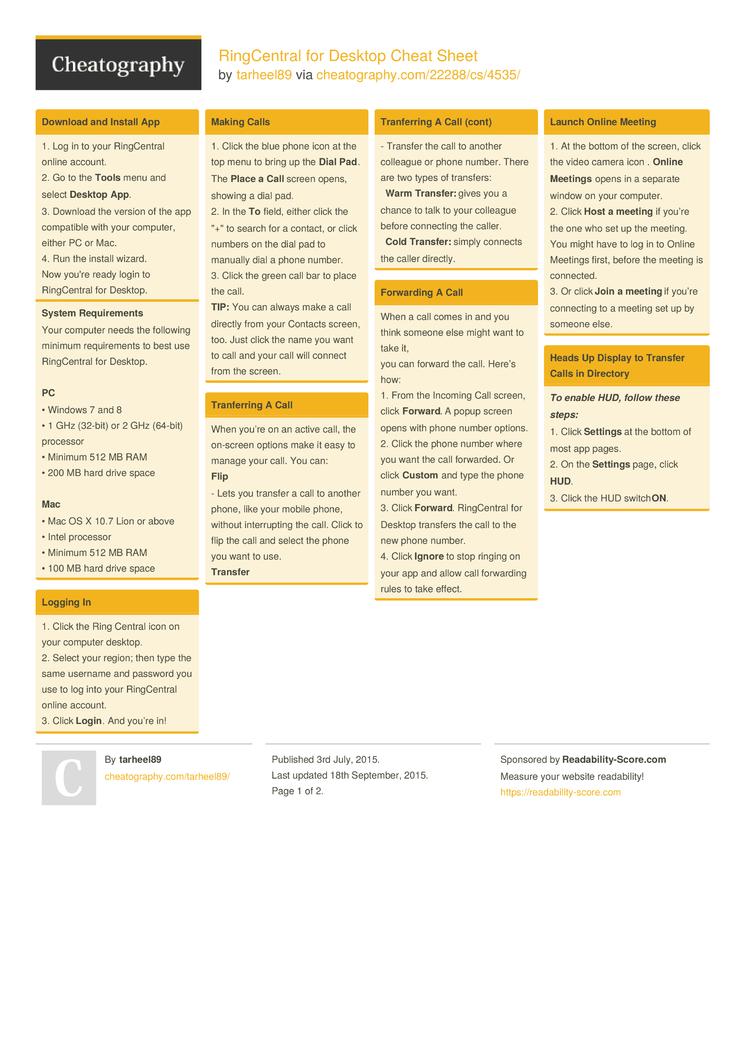 RingCentral for Desktop Cheat Sheet by tarheel89 - Download