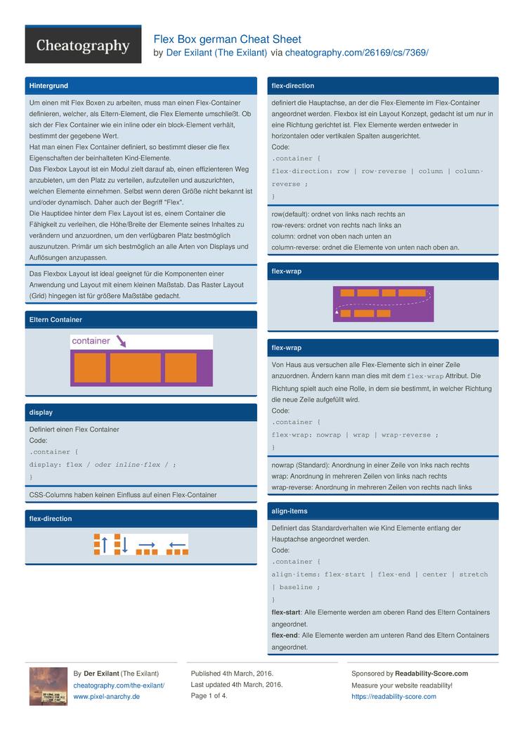 Flex Box german Cheat Sheet by The Exilant - Download free